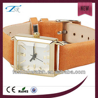 2017 china popular studding fashion western leather square dial elegant cool waterproof women leather bracelet watch