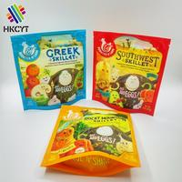 Custom printed plastic self standing up round bottom bags for frozen food chicken snacks packaging