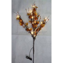 Artificial branches with LED light and yellow leaves for decor