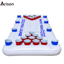 Environmental PVC inflatable beer pong raft game with cup holders for floating lounge