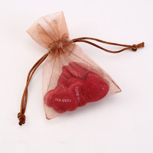 Eco friendly big size rosette organza bags with logo printing