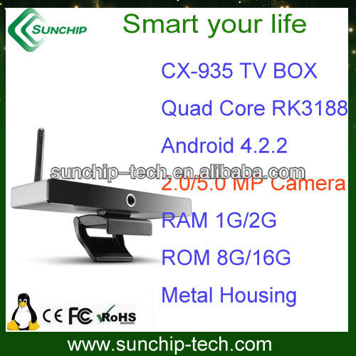 RK3188 quad core, android tv box oem, built in SKYPE Camera android box