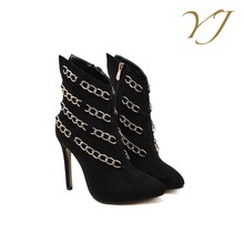 2017 Cheap shoes wholesale fashion black ankle boots for women with chain ornaments