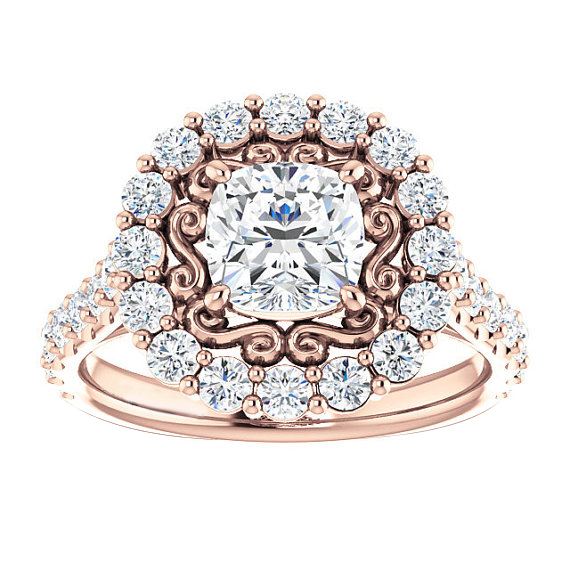 SJE093 SJ Luxury Filigree Jewelry Ring AAA Cubic Zirconia Brass Rose Gold Plating Moissanite Floral Fashion Diamond Wedding Ring