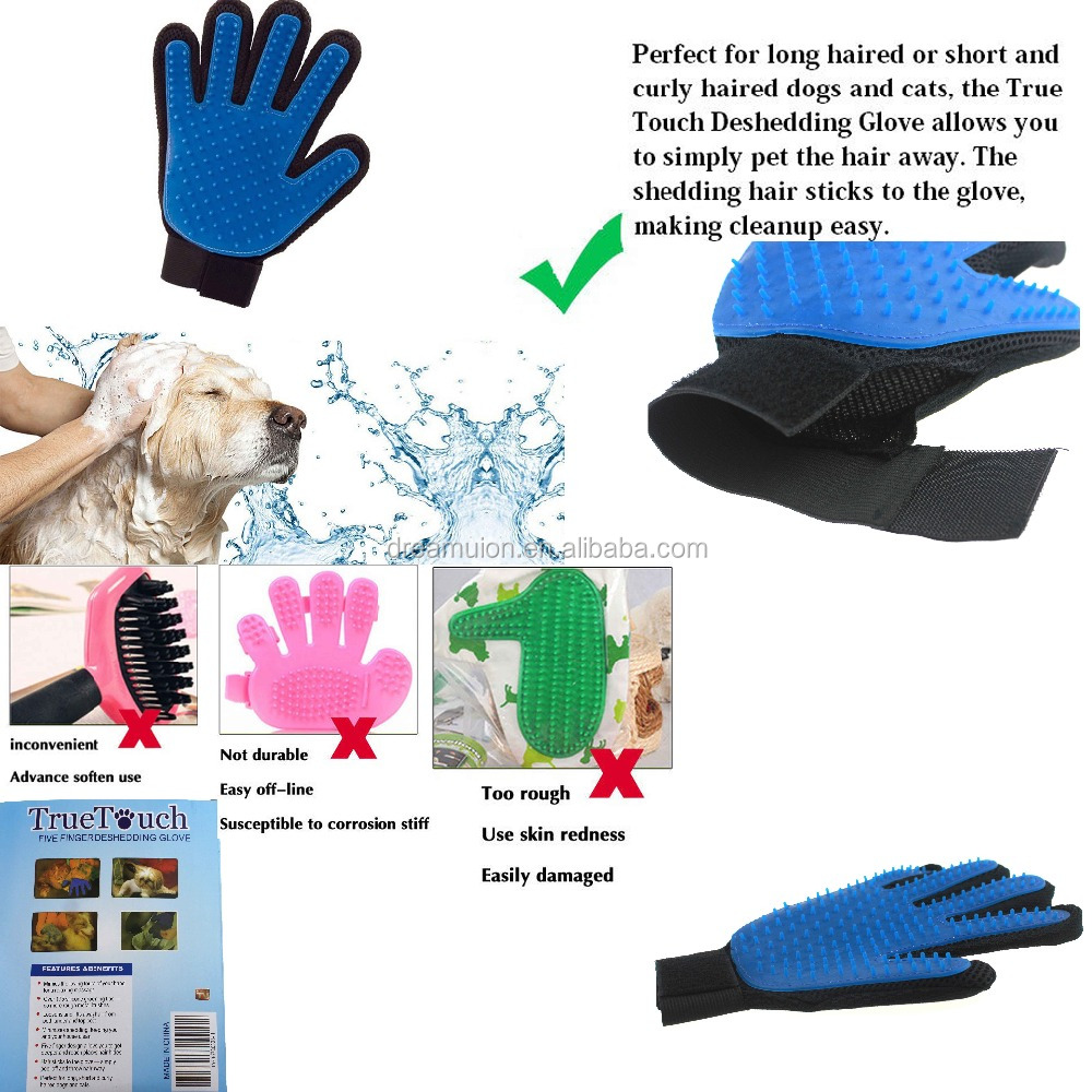 True Magic Touch Five finger Glove Quick Gentle and Efficient Pet Dog Cat Grooming TrueTouch Mitt Popular