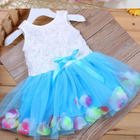 2017 new wholesaler baby princess christmas dresses girls skirt set with bowknot