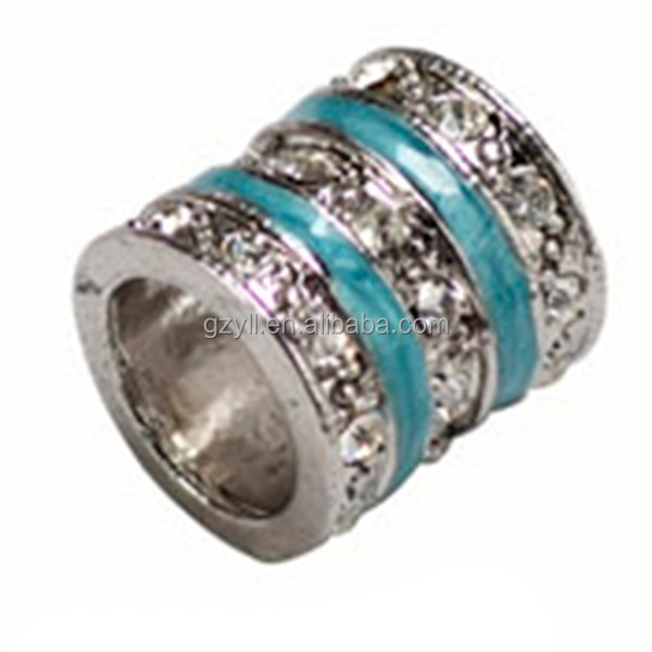 Cylinder silver plated micro paved jewelry components