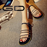 new latest chains decoration pretty shining girls flat sandals
