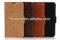 FL2311 hot-selling crazy horse smart cover wallet leather case pouch fit for samsung galaxy s5 i9600