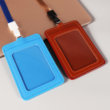 Factory wholesale credit waterproof vertical pocket badge leather id card holder