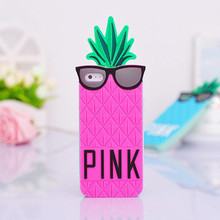 Factory supply custom cheap silicone pineapple phone case 3D fruit silicone case pineapple silicone case for iphone 4 5 6