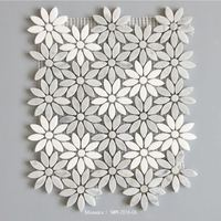 Low prices white&gray marble mosaic tile for bathroom beautiful flower shape