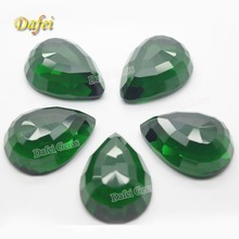 Beautiful Green Pear 25x18mm Synthetic Glass Gems