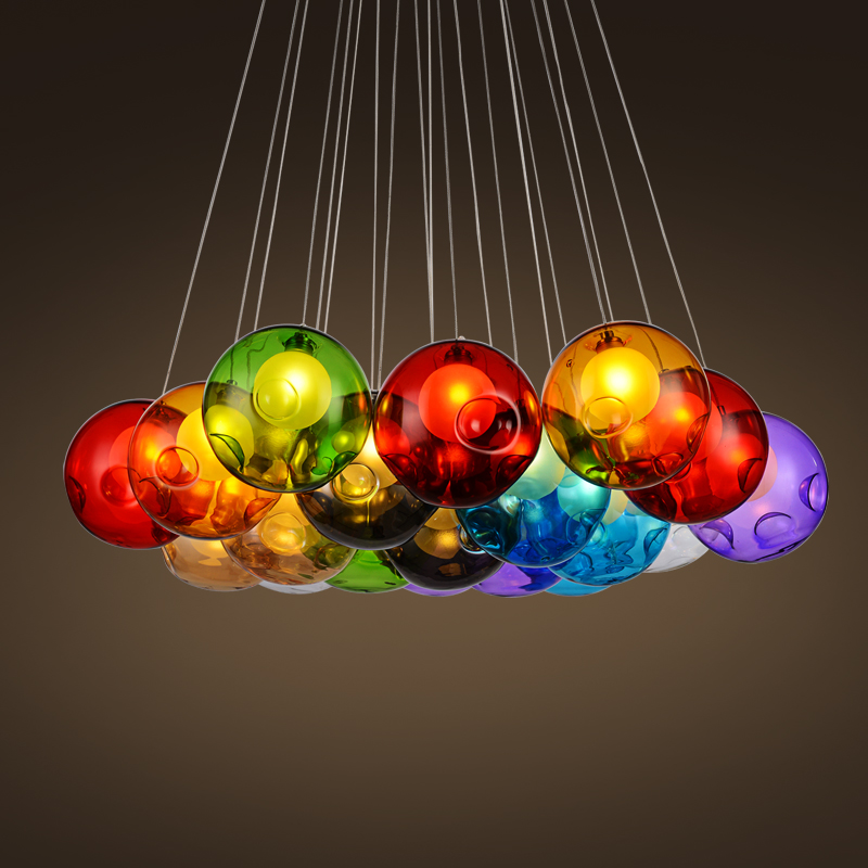 Modern Colorful Glass Ball Pendant Lights for Dining room restaurant Decoration Light Fixture Luxury Large Pendant Lamp