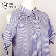 Women Sexy Blouses Off Shoulder Bowknot Sleeve Blue White Striped Shirts