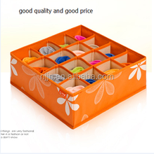 Folding 16 lattice Non Woven Foldable Decorative Cardboard Two Covers Storage Box With Handle