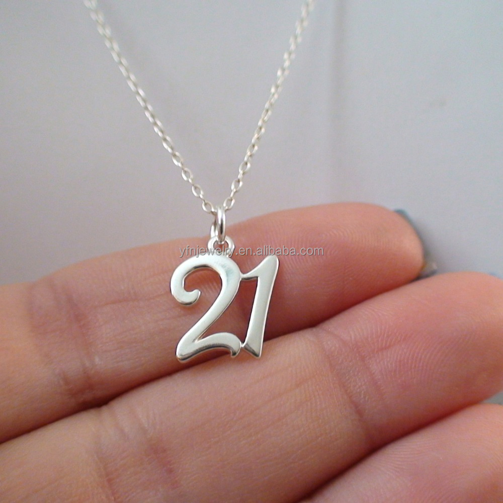 Fashion Meaningful Jewellery Solid Silver Forever 21 Necklace Number Jewelry