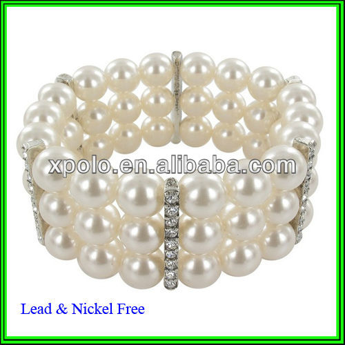 Simulated Pearl and Clear Crystal Triple Row Bracelet Jewelry