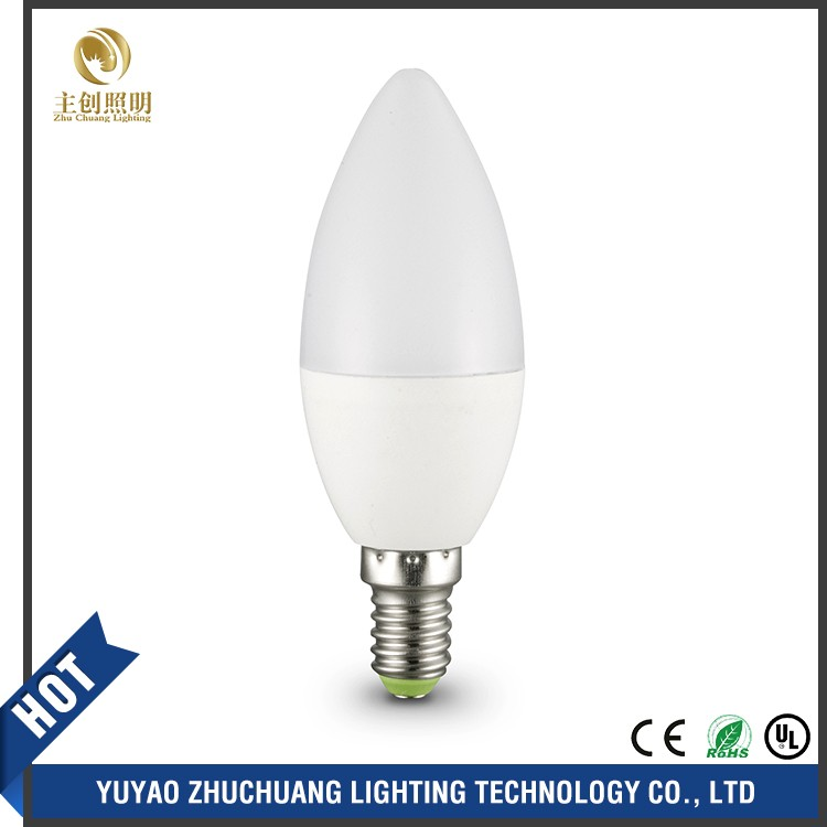 CE Rohs ULcertificated C37 LED Candle Bulb, SMD2835 White LED Bulbs E14 Candelabra Base 220V