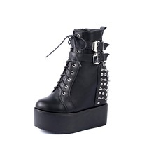 fashion hidden high heel warm platform shoes rivets women winter wedges boots with diamond