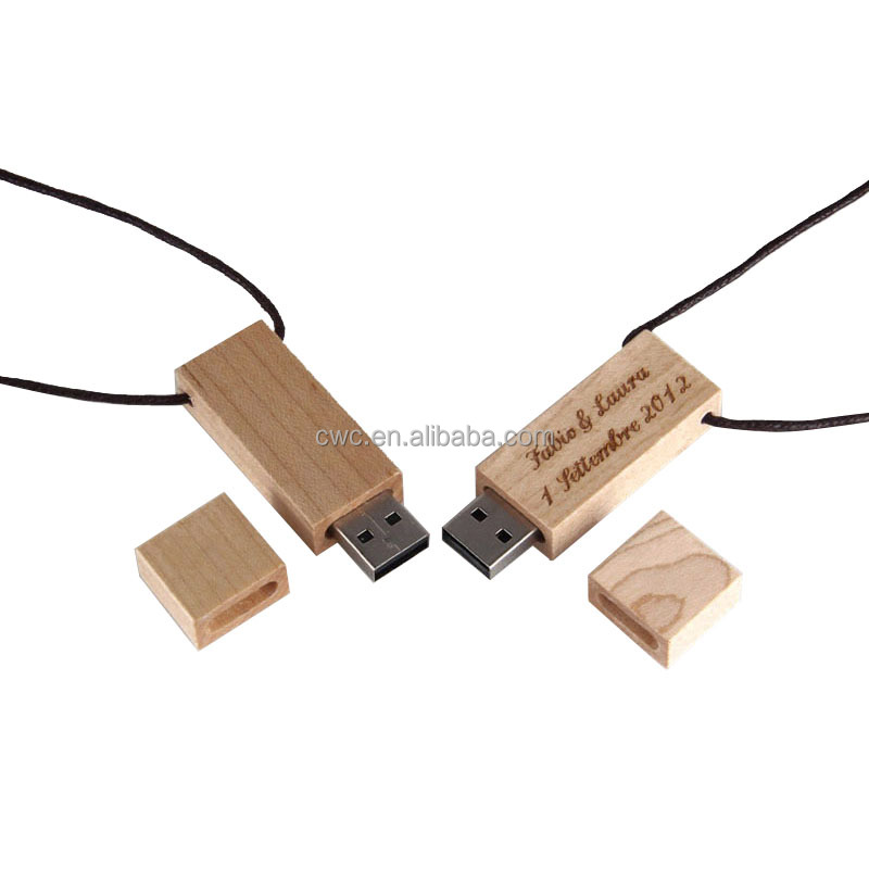 short lead time hanging custom logo wooden usb with box