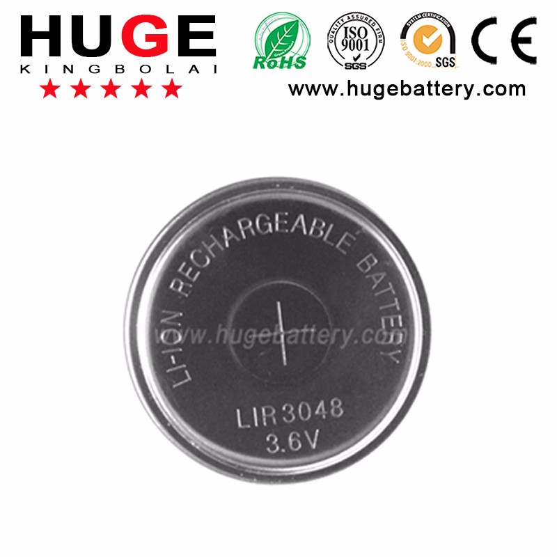 Li-ion 3.6V Rechargeable Batteries (LIR3048) with tap/pin