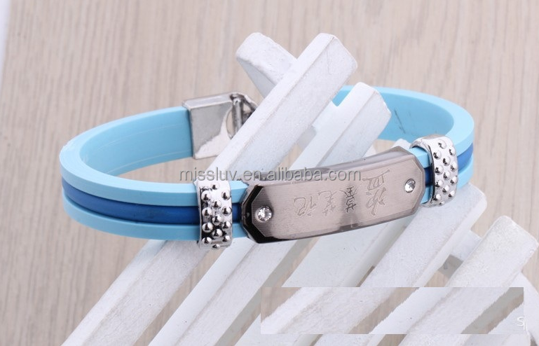 custom saying words silicone bracelet with metal logo write silicone bracelets with sayings
