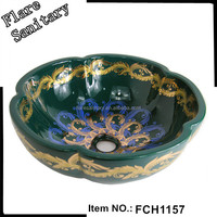 green and golden wash basin hair salon wash basins