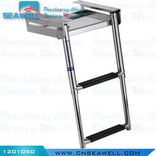 Perfect Stainless Steel 2 Steps Telescoping Under Boat Ladder Platform Compact Ladder