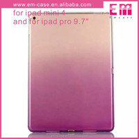 Fashion Gradient TPU Clear Transparent cover case for ipad Mini4,pro9.7''