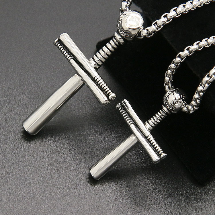 New America 펑크 stainless steel 야구 cross 펜 던 트 necklace