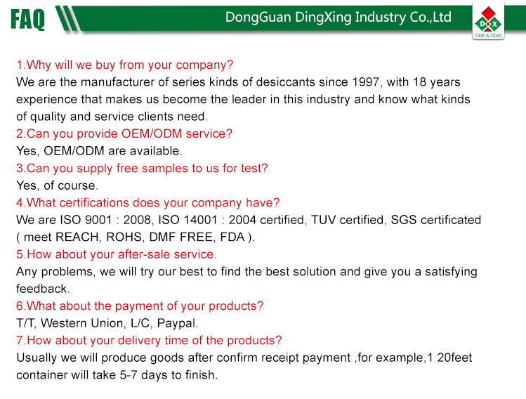 Eco-friendly SGS Report, DMF free Desiccant Clear Bag