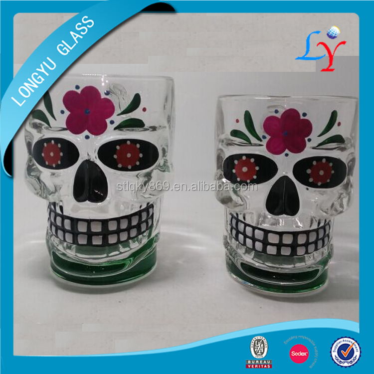 skull shaped glass head mug cup hand painted skull glass for beer