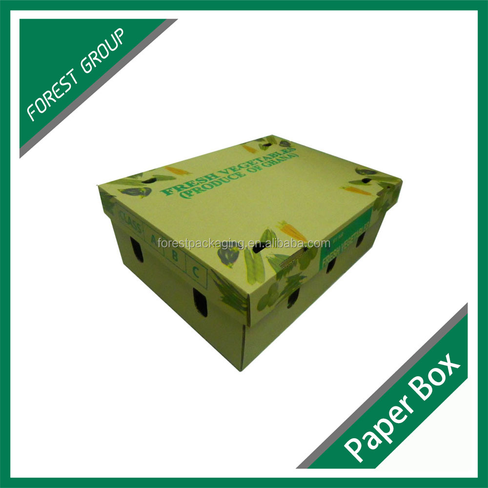 CUSTOM FARM FRESH PRODUCE WAX CARTON BOX FOR VEGETABLE AND FRUIT