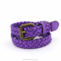 PU material Woven Belt Braided strap with Antic Brass Buckle