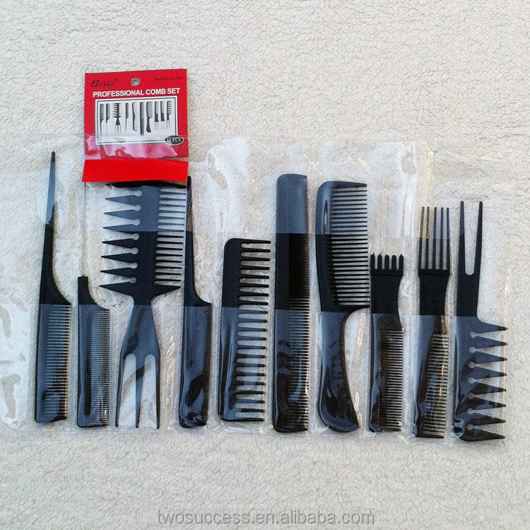 10Pcs Black Professional Salon hair salon comb Styling Hairdressing Plastic Barbers Brush Combs