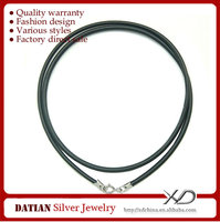 XD MT009 Wholesale 2mm Rubber Cord Necklace with 925 Sterling Silver Spring Clasp