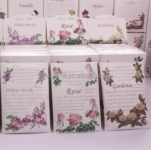 White musk/rose/Gardenia scents car wash give away scented paper sachet air freshener