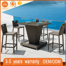 New Design Handmade Indoor Outdoor Furniture Sets PE Rattan Wickes Furniture Bar Stool Set