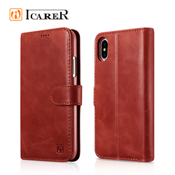 ICARER Hot Selling Genuine Cow Leather Wallet Folio Case for iphone X