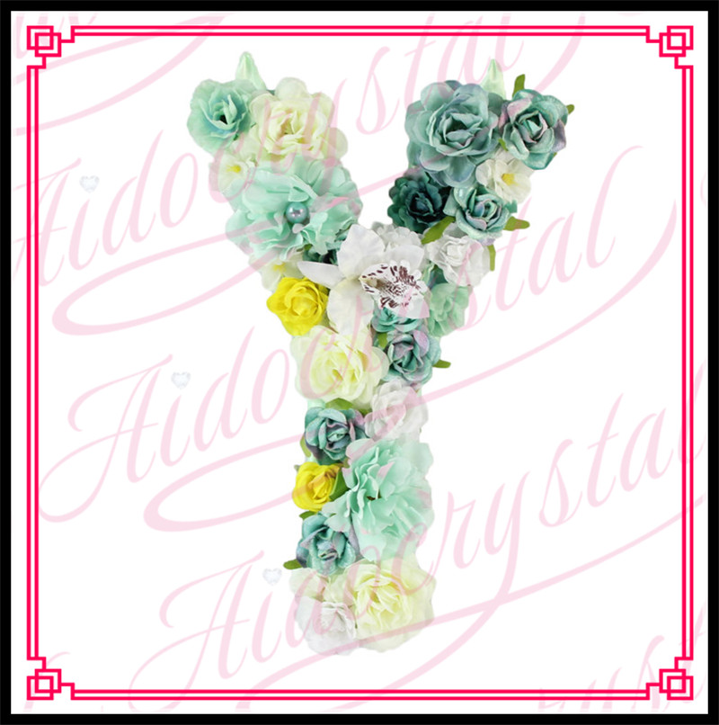Aidocrystal New style cheap fashion artificial floral letters for shop wall