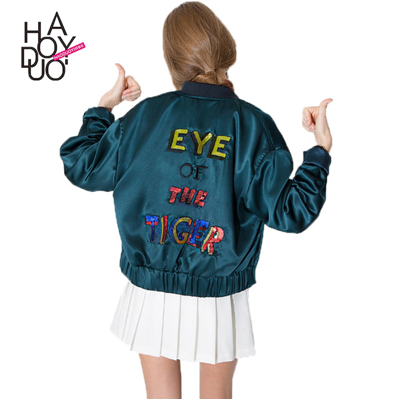 HAODUOYI Women Eye of The Tiger Sequins Embroidery Jacket Baseball Style Sport Blazer for Wholesale