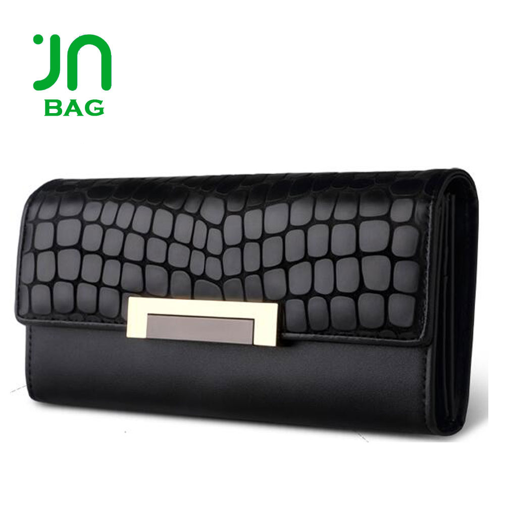 JIANUO Black high-end cowhide cheap leather purse cow leather purse for ladies