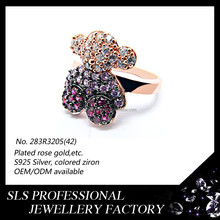 2015 new Cute Bear rose gold with colorful zircon rings nice indian costume jewellery-SLS