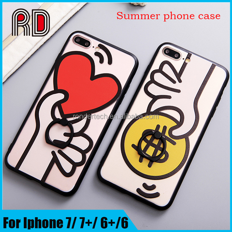 Most popular simple giving love heart dollar money print ring clear tpu summer phone case for iphone 7 7plus