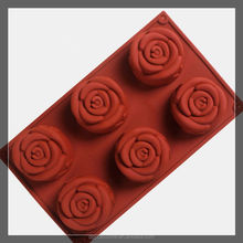 6-Cavity Rose Shape Silicone Mold for Homemade Soap, Cake, Cupcake, Bread, Muffin,Pudding