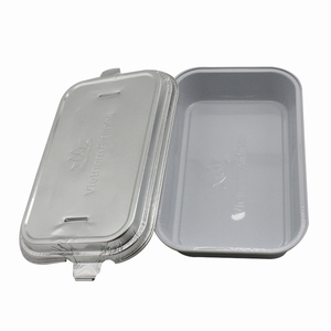 Rectangle disposable airline food service aluminum foil container with lid