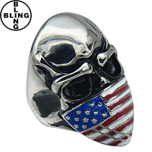 >>> 2017 latest finger ring designs with US flag big size skull rings for men