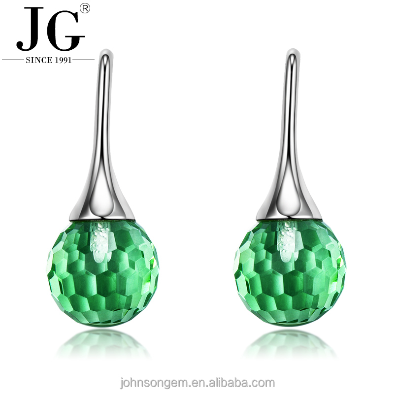 Wholesale Women's New Design rhodium plated 925 Sterling Silver Ear Hook Jewellery Earrings with Green Glass Crystal Ball