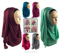 Collection design easy wear Plain color sparkle Jersey muslim hijab Instant Shawl Modal beads scarf